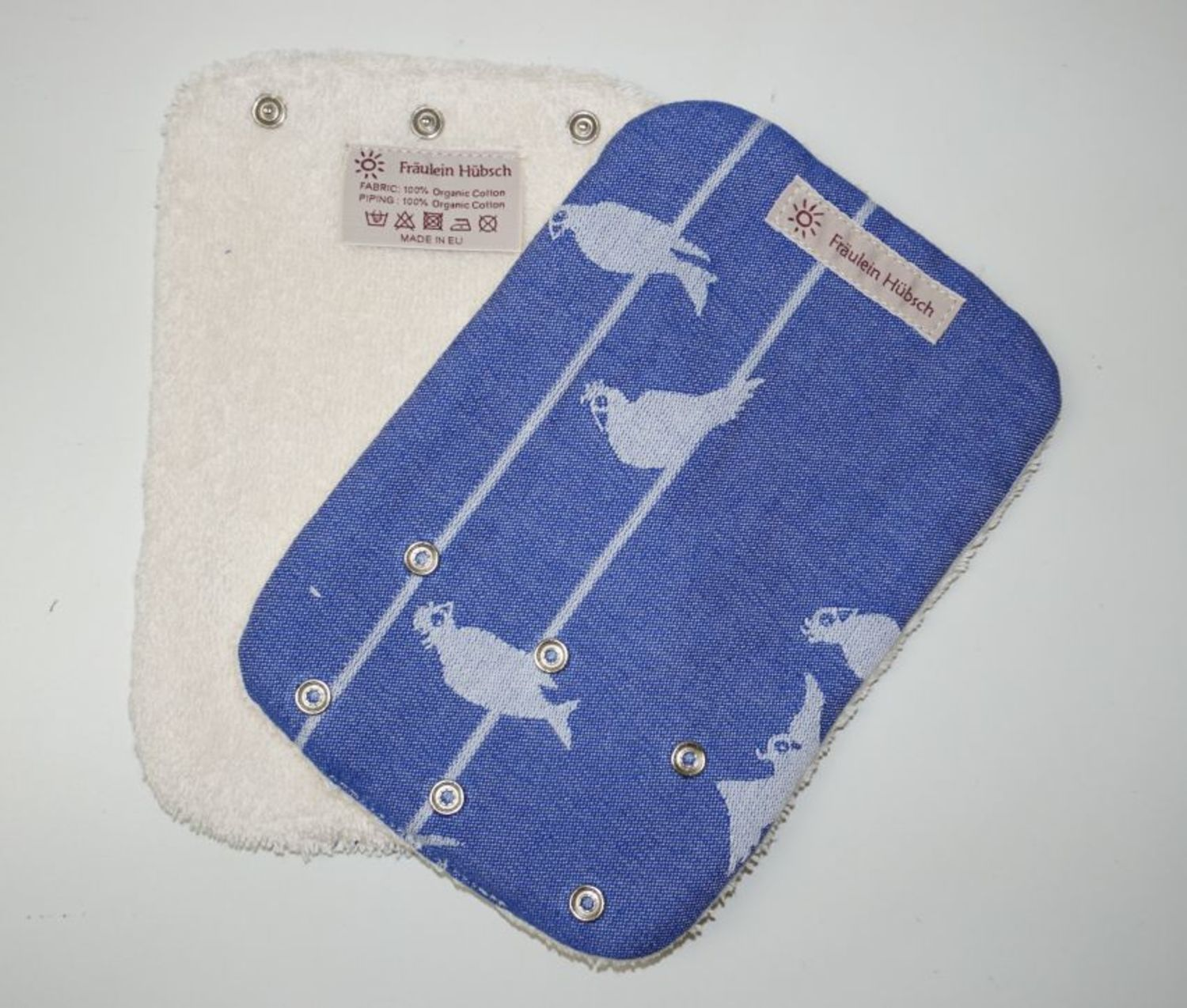 "Teething Pads ""Birds on a Wire Marine\"""