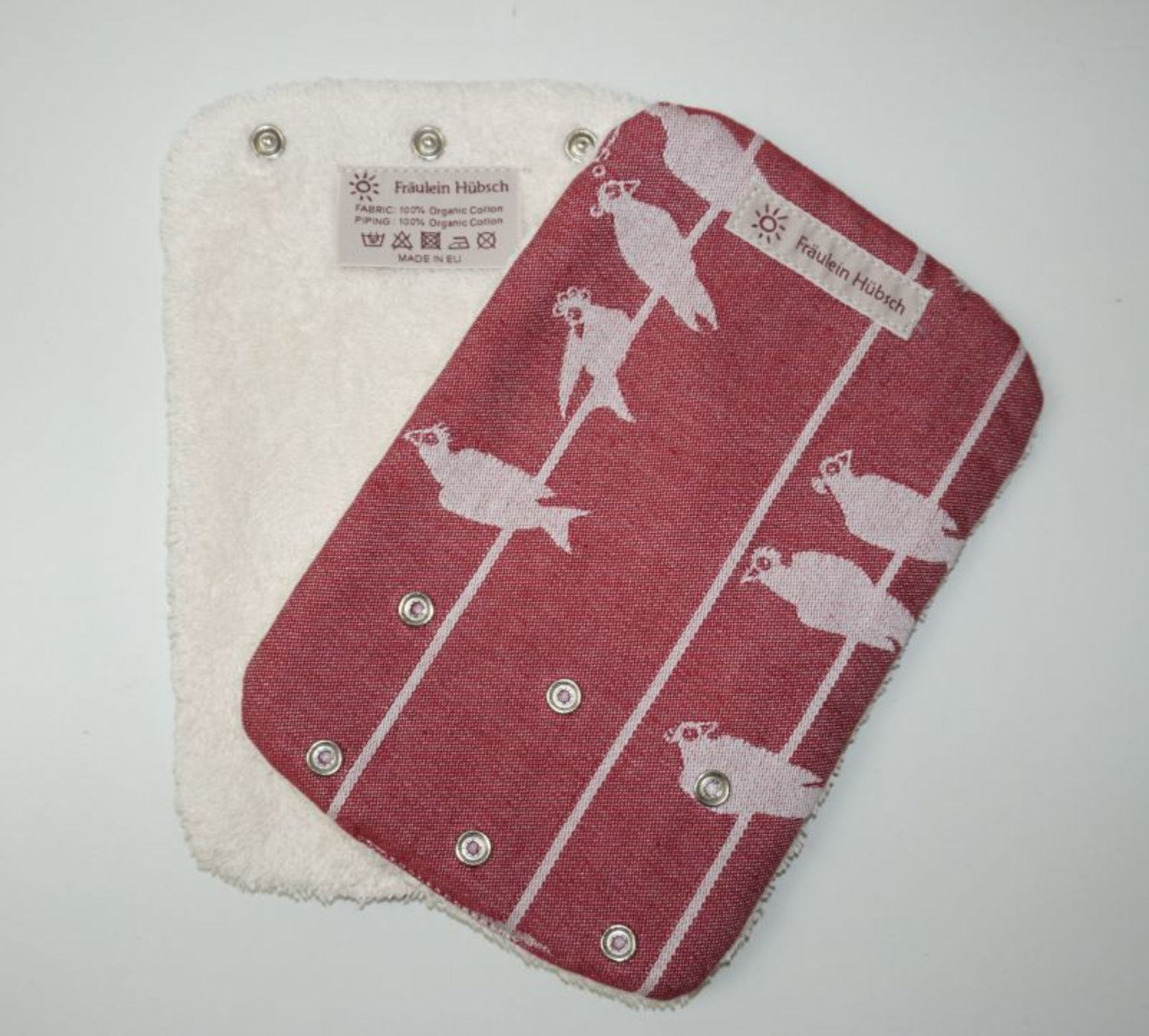 "Teething Pads ""Birds on a Wire Bordeaux\"""