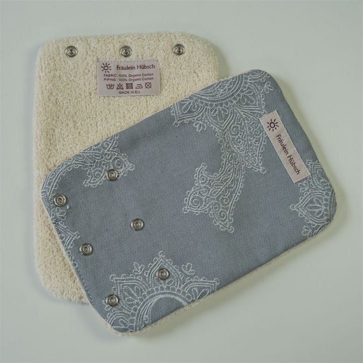 "Teething Pads ""Little Floral Silbergrau\"""